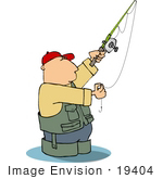 #19404 Man Wearing Fishing Gear Wading In Water Preparing His Hook Clipart