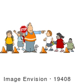 #19408 Male Crossing Guard Holding A Stop Sign While School Children And A Dog Use A Crosswalk Clipart