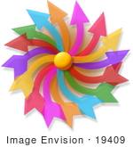 #19409 Colorful Confused Arrows Forming A Spinning Pinwheel Clipart