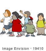 #19410 School Children And A Dog On Their Way To School Clipart