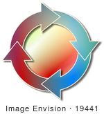 #19441 Four Colorful Arrows in a Circle, Moving Clockwise Clipart by DJArt