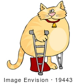 #19443 Orange Ginger Tabby Cat With Its Leg In A Cast Using Crutches Clipart