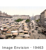 #19463 Stock Photo Of Carriages And Trolleys Passing By The Naschmarkt In Vienna Austria