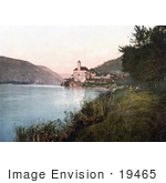#19465 Stock Photo Of A Building On The Waterfront With Towers Schonbuchel Schneeberg Lower Austria Austro-Hungary