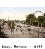#19468 Stock Photo Of Carriages And People Near The Riesenrad Ferris Wheel In The Wurstelprater Amusement Park Vienna Austria
