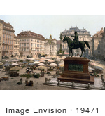 #19471 Stock Photo of an Equestrian Statue and Umbrellas in the Marketplace in Vienna, Austria by JVPD