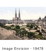 #19478 Stock Photo Of The Votivkirche Votive Church And Public Parks On Maximilian Platz In Vienna Austria