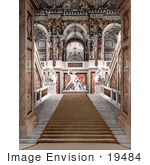 #19484 Photo Of The Marble Walled Staircase And Statues In The Museum Of Arts In Vienna Austria