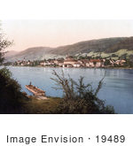 #19489 Photo Of A Man On A Dock Across From The Waterfront Village Of Engelhartszell In Upper Austria