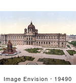 #19490 Photo Of The Statues And Park At The Kunsthistorisches Museum In Vienna Austria Austro-Hungary