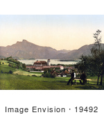 #19492 Photo Of Two Men Overlooking The Schafberg Mountain And Collegiate Church In The Village Of Mondsee On The Mondsee Lake Upper Austria