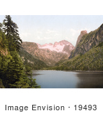 #19493 Photo Of Hoher Dachstein Mountain Near Vorderer Gosausee Lake In The Northern Limestone Alps Upper Austria