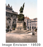 #19539 Photo Of People Near The Radetzky Memorial Statue In Prague Bohemia Czech Republic