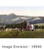 #19540 Photo Of People Working Near A Barn With A View Of The Jeschken Mountain In Liberec Reichenberg Bohemia Czech Republic