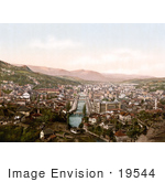 #19544 Photo Of A Cityscape Of Sarajevo With The Miljacka River Flowing Through The Center Bosnia