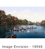 #19549 Photo Of People Rowing Boats Near Swans In Karlovy Vary Carlsbad Bohemia Czech Republic