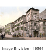 #19564 Photo Of People Near The Clock Tower In The Army Square In Kotor Cattaro Dalmatia