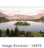 #19570 Photo of Bled Castle Overlooking the Church on the Island on Lake Bled in Upper Carniola, Slovenia by JVPD