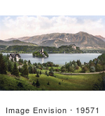 #19571 Photo Of A House Overlooking The Island Church On Lake Bled In Upper Carniola Slovenia