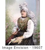 #19607 Photo Of A Woman Seated In Traditional Clothing Holding An Umbrella Carniola Slovenia