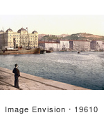 #19610 Photo Of A Man Standing At The Harbor Viewing The Ships And City Rijeka Fiume Croatia