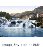 #19651 Photo Of Buildings By The Lower Falls Of The Krka River In Sibenik Sebenico Croatia