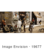 #19677 Photo Of People And Dogs On The Sidewalk And Street In Tacubaya Mexico