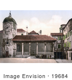 #19684 Photo Of People By The Loggia And Clock Tower In Trogir Tragurium Tragurion Trau Croatia
