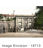 #19713 Photo Of People By The Porta Di Terraferma Arch In Zadar Iadera Zara Croatia