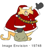#19748 Chubby Orange Cat Dressed as Santa Clause on Christmas Clipart by DJArt