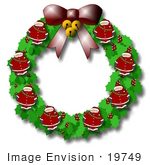 #19749 Xmas Wreath Made of Bells, Santas, Holly and Berries and a Bow Clipart by DJArt