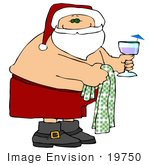 #19750 Shirtless Santa Claus Carrying A Towel And Drink On Vacation Clipart