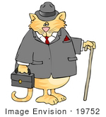 #19752 Orange Cat In A Jacket And Hat Dressed Like A Gentleman Clipart