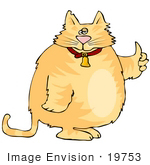 #19753 Chubby Orange Ginger Cat Giving the Thumbs Up Clipart by DJArt