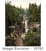 #19761 Photo Of A Bridge Near The Riesen Waterfall Little Kohlbach Austro-Hungary