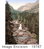 #19787 Photo Of A Bridge Near The Middle Waterfall Of The Great Kohlbach In Austro-Hungary