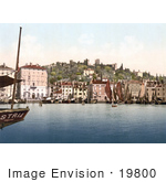 #19800 Photo Of Ships In The Harbor Near The Waterfront And Castle In Piran Pirano Slovenia