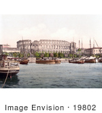 #19802 Photo Of Ships In The Harbor Near The Pula Arena In Pula Istria Croatia