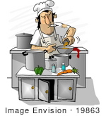 #19863 Chef Man Smoking While Cooking In A Restaurant Kitchen Clipart
