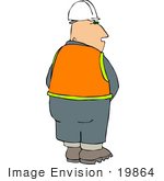 #19864 Middle Aged Male Caucasian Construction Worker Peeing Clipart by DJArt