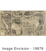 #19878 Picture Of The Waldseemuller Map Universalis Cosmographia By Martin Waldseemuller 1507