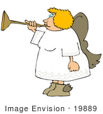 #19889 Blond Woman Angel Blowing On A Horn Clipart