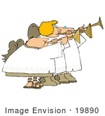 #19890 Angels Blowing Horns Clipart by DJArt