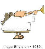 #19891 Bald Male Angel Blowing On A Horn Clipart