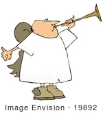 #19892 Male Angel Blowing on a Horn Clipart by DJArt