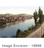 #19896 Stock Picture Of The Old Part Of The Village Of Maribor Along The Drava River In Slovenia