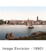 #19901 Stock Picture Of A Sailboat Near Veglia Krk Austro-Hungary