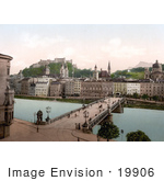 #19906 Stock Picture Of Bridge Crossing The Salzach River In Salzburg Austria