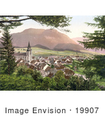 #19907 Stock Picture Of The Mariazell Basilica And Other Buildings In The City Of Mariazell In Styria Austria
