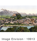 #19913 Stock Picture Of The Salzach River Flowing Near The Fortress Hohensalzburg And The City Of Salzburg In Austria